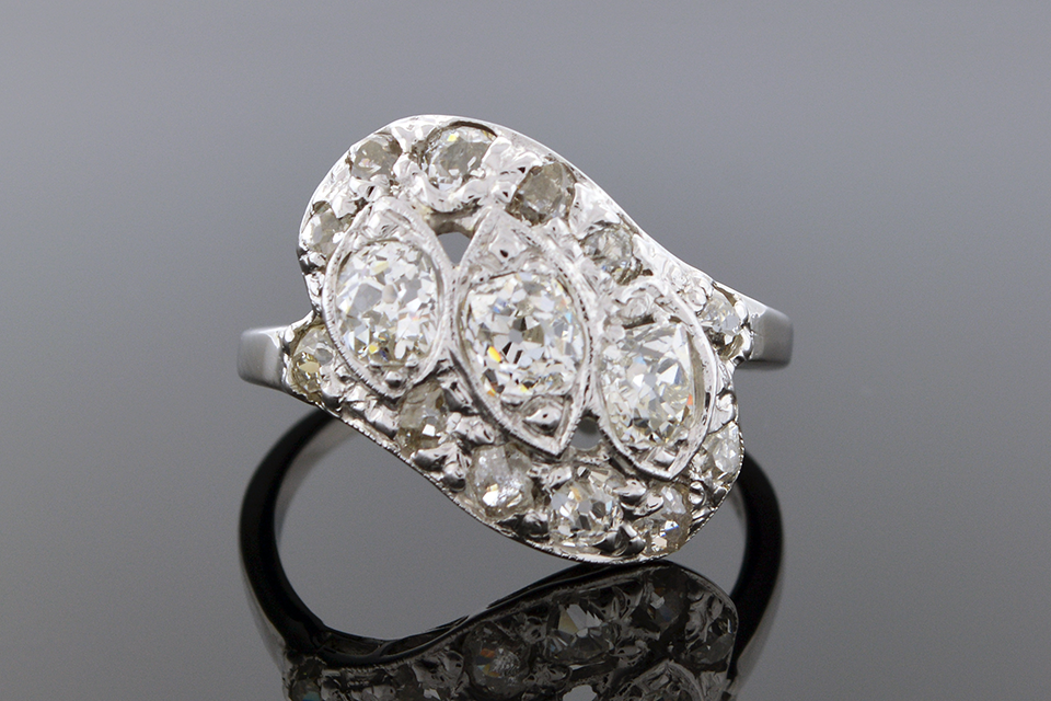 Item #5042 Vintage Diamond Angle Ring