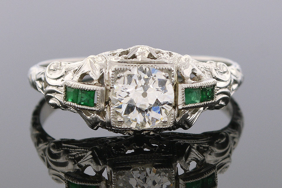 Item #5088 Vintage Diamond Ring with Emerald Trim 5088