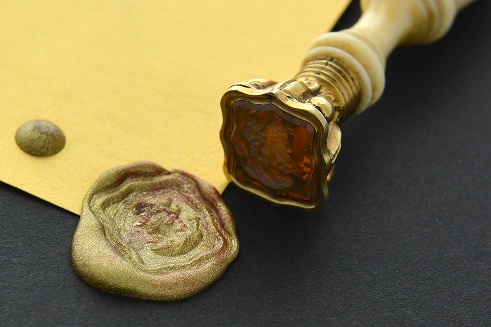 Item #2367 Antique Carved Citrine Wax Seal Stamp 2367