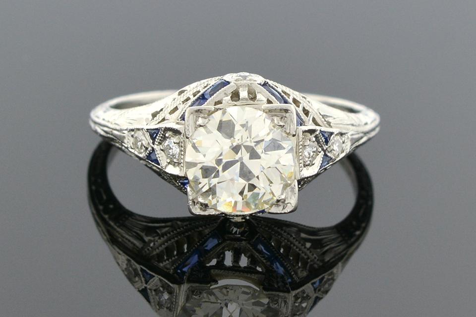 Item #4772 Art Deco Engagement Ring with Sapphire Trim 4772