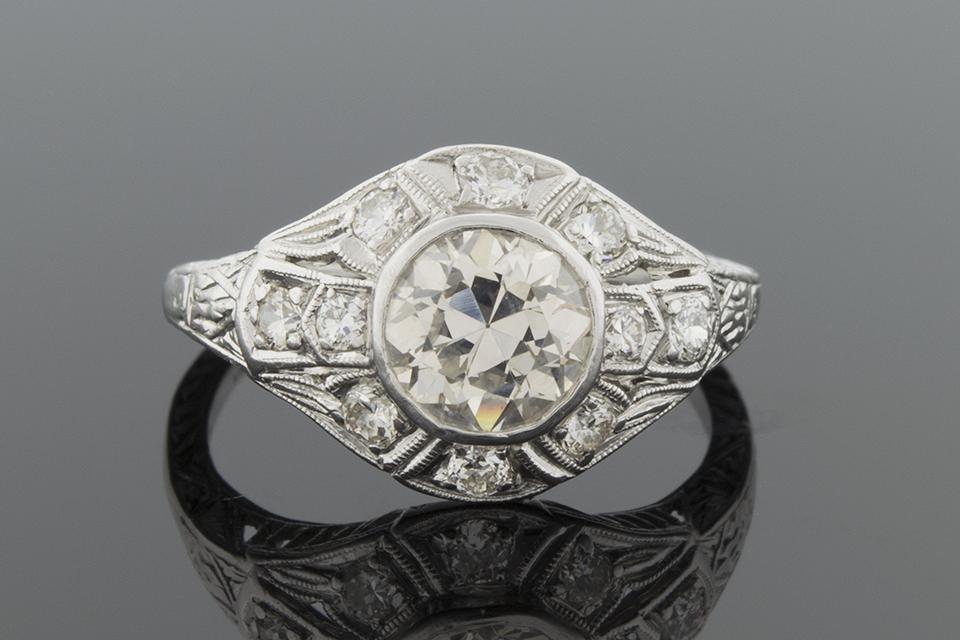 Item #5595 Art Deco Ring with a 1.00 Carat Diamond 5595