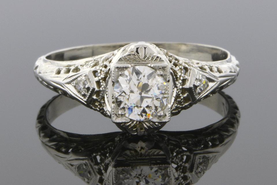 Item #5747 Vintage Filigree Engagement Ring 5747