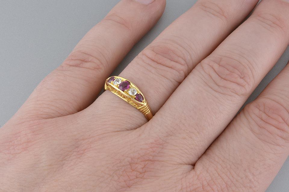 Ruby and Diamond English Half Hoop Ring