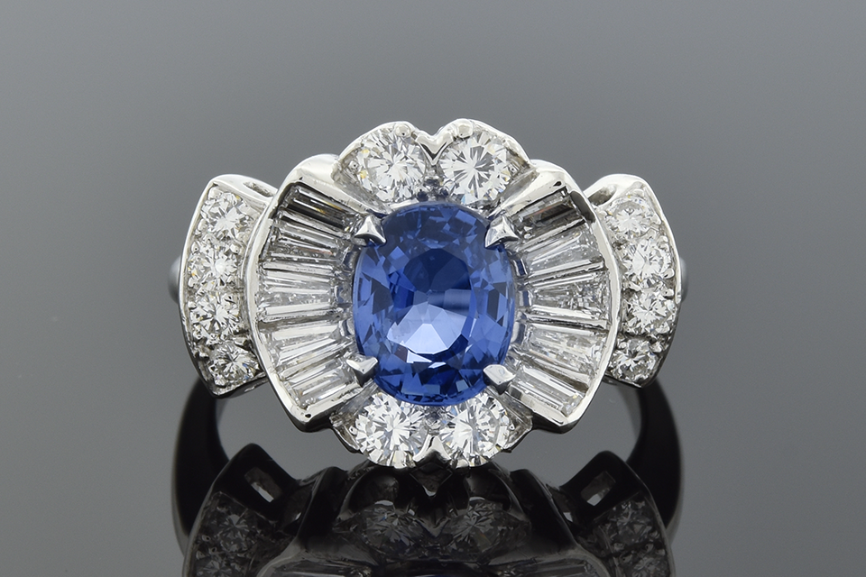 Item #5760 Sapphire and Diamond Modern Ballerina Ring 5760