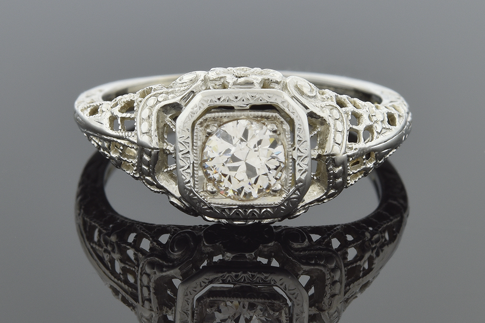 Item #1312 Art Deco Diamond Ring with Carved Flowers 1312