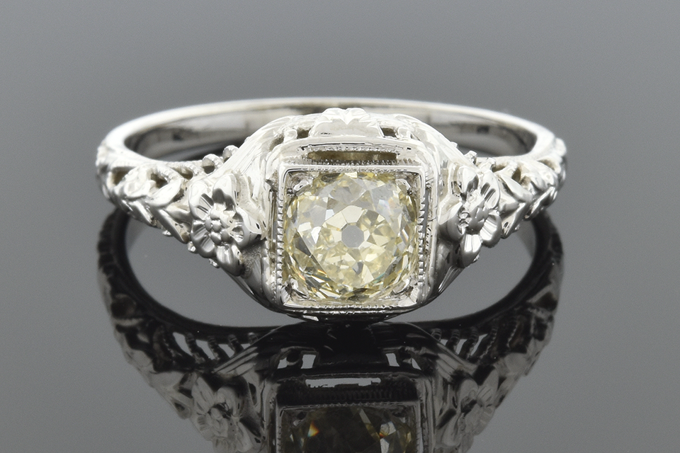 Item #5045 Art Deco Engagement Ring with Carved Flowers