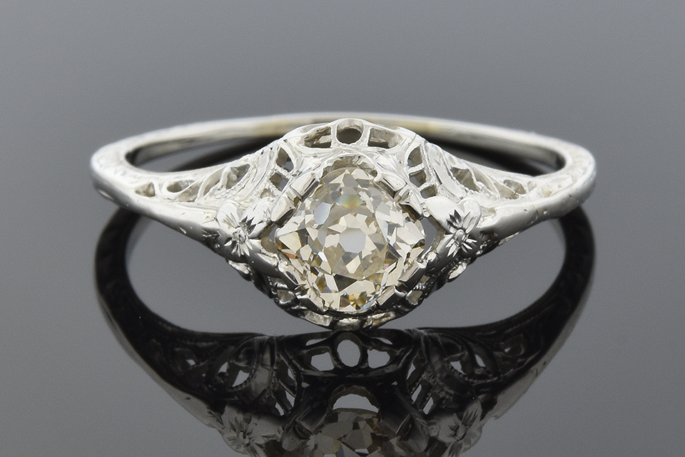 Item #1332 Old Mine Cut Diamond Vintage Engagement Ring 1332