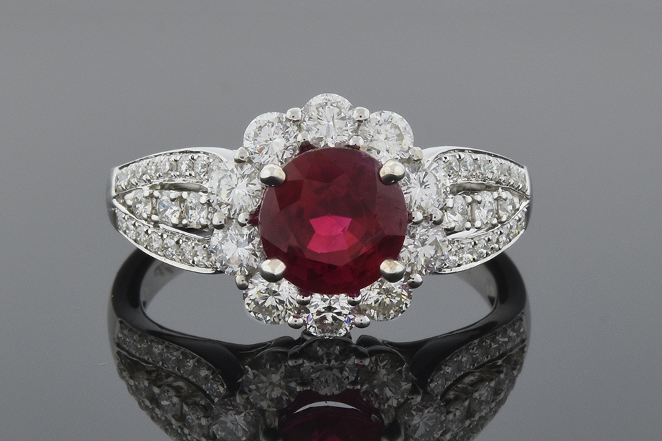 Item #5666 Bright Ruby Ring with Diamond Halo 5666