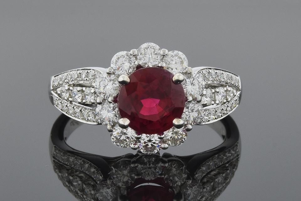 Item #5666 Bright Ruby Ring with Diamond Halo