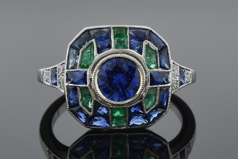 Item #6030 Sapphire and Emerald Deco Style Ring by Beverley K 6030