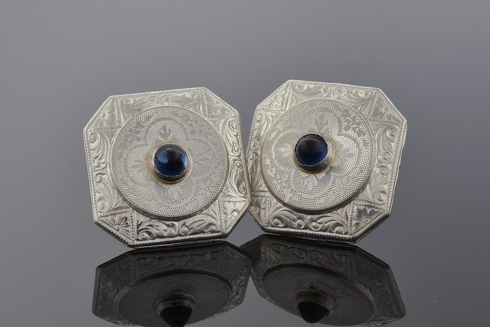Item #2329 Sapphire Cufflink Conversion Earrings 2329