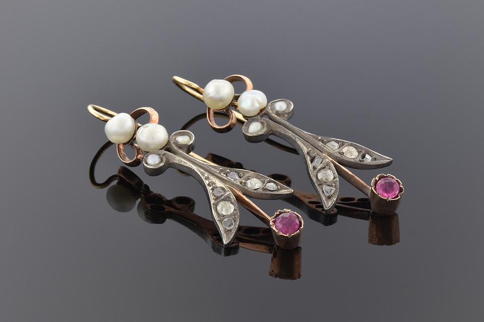 Item #1691 Georgian Ruby Diamond and Pearl Dangle Earrings 1691