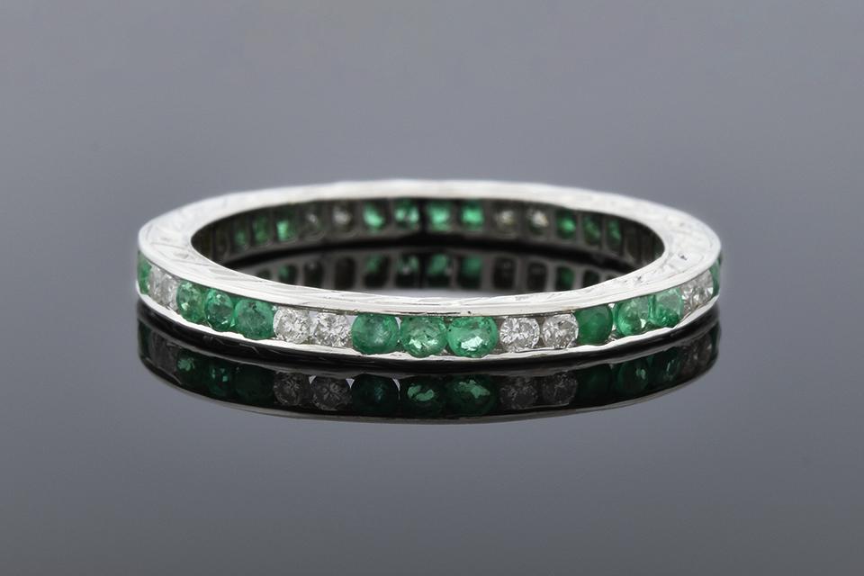 Item #1201 Emerald and Diamond Eternity Band 1201
