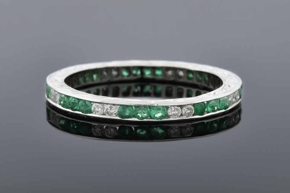 Emerald and Diamond Eternity Band