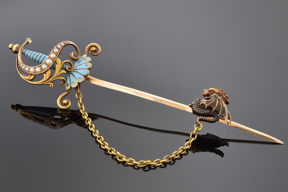 Item #2355 Sword Pin Tie Bar with Dragon Cap 2355