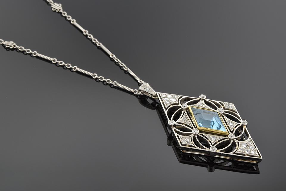 Item #5488 Edwardian Parallelogram Aquamarine Necklace 5488