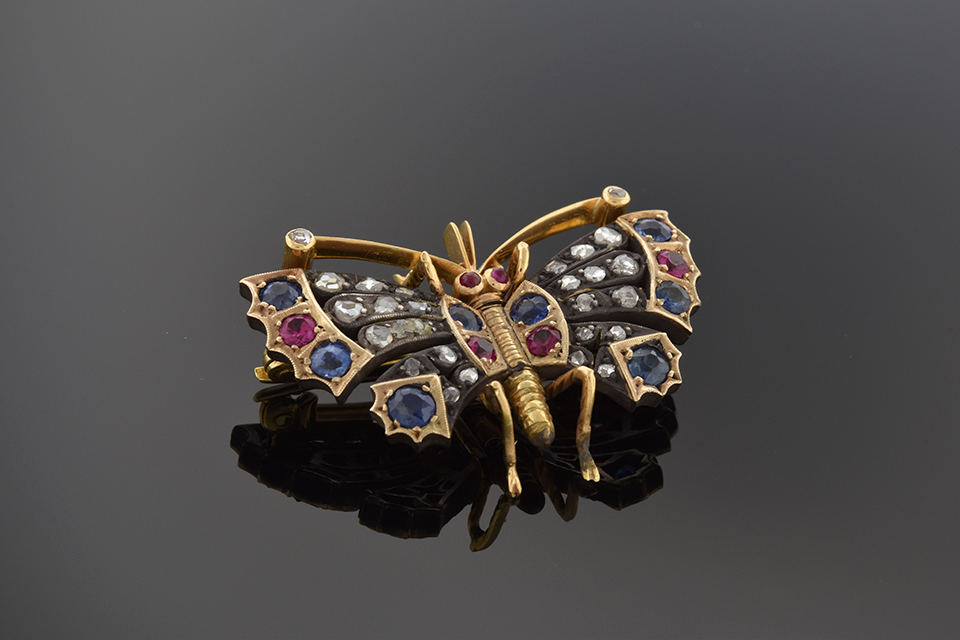 Item #1481 Georgian Ruby Sapphire and Diamond Butterfly Brooch 1481