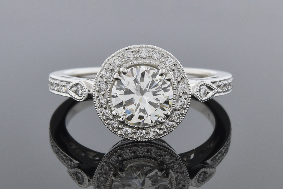 Item #6350 Halo Diamond Engagement Ring with a Vintage Feel 6350