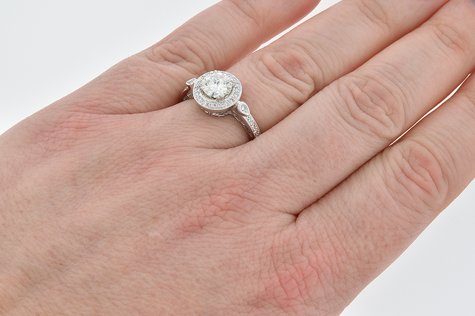 Item #6350 Halo Diamond Engagement Ring with a Vintage Feel