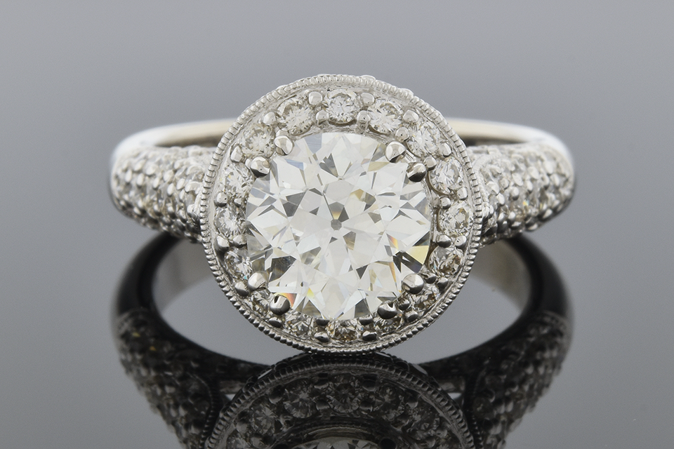 Item #4741 High Set Halo Diamond Engagement Ring 4741