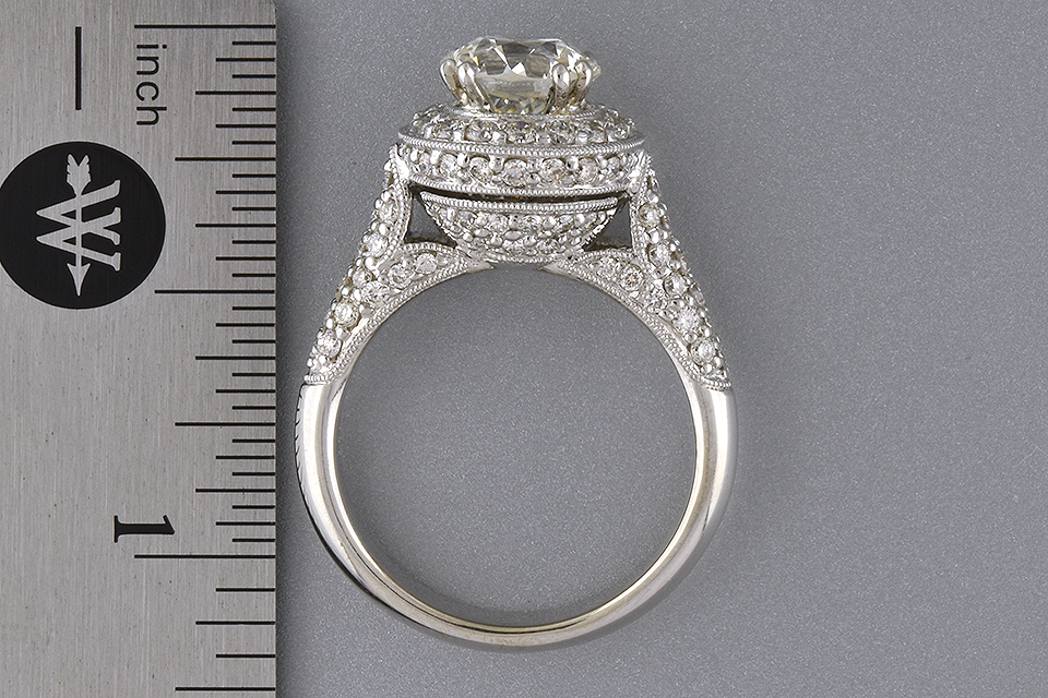 Item #4741 High Set Halo Diamond Engagement Ring
