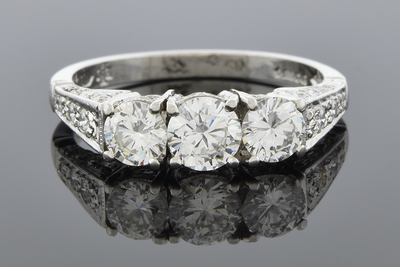 Vintage Inspired Three Stone Diamond Ring