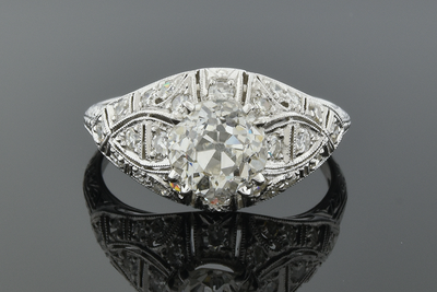 Item #4694 Open Detailed Art Deco Diamond Ring