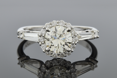Item #5250 Classic Baguette Engagement Ring with Halo Setting