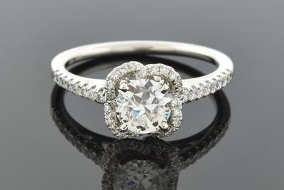 Item #5985 Scrolling Diamond Halo Engagement Ring