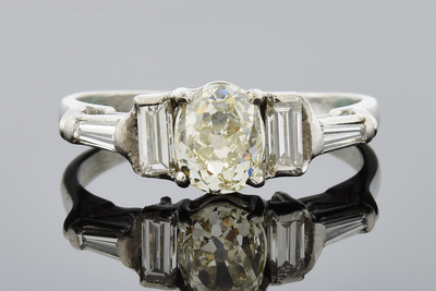 Item #5590 Old Mine Cut Diamond Engagement Ring