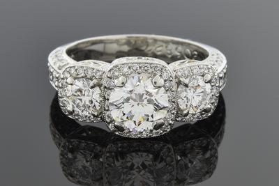Item #5434 Three Stone Diamond Ring with Halos