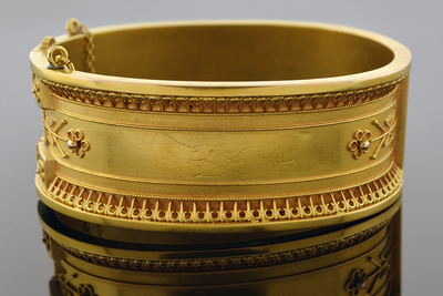Item #4830 Wide Etruscan Bangle Bracelet