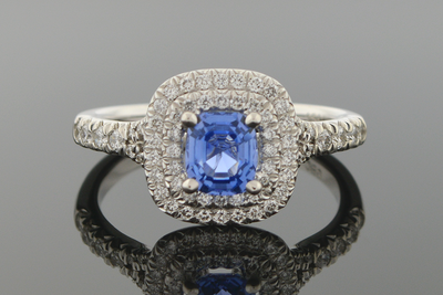 No Heat Sapphire and Diamond Ring