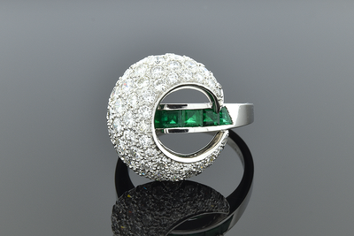 Crescent Emerald and Diamond Ring