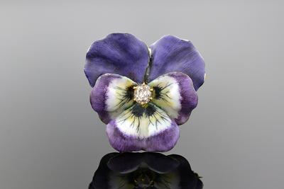 Purple Enamel Pansy Diamond Brooch