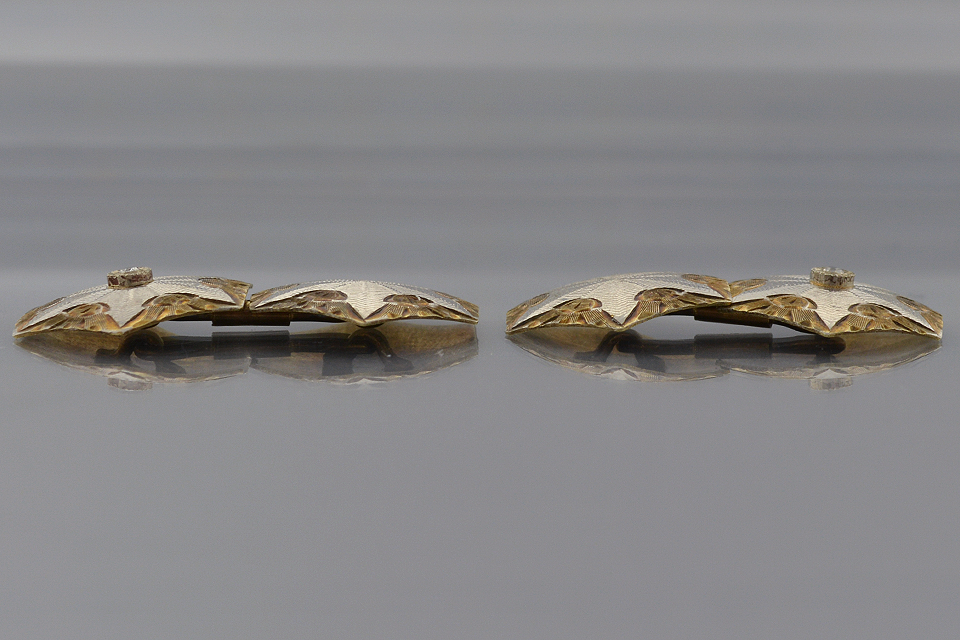 Item #1375  Carved Two Tone Gold Cuff Links with Diamonds