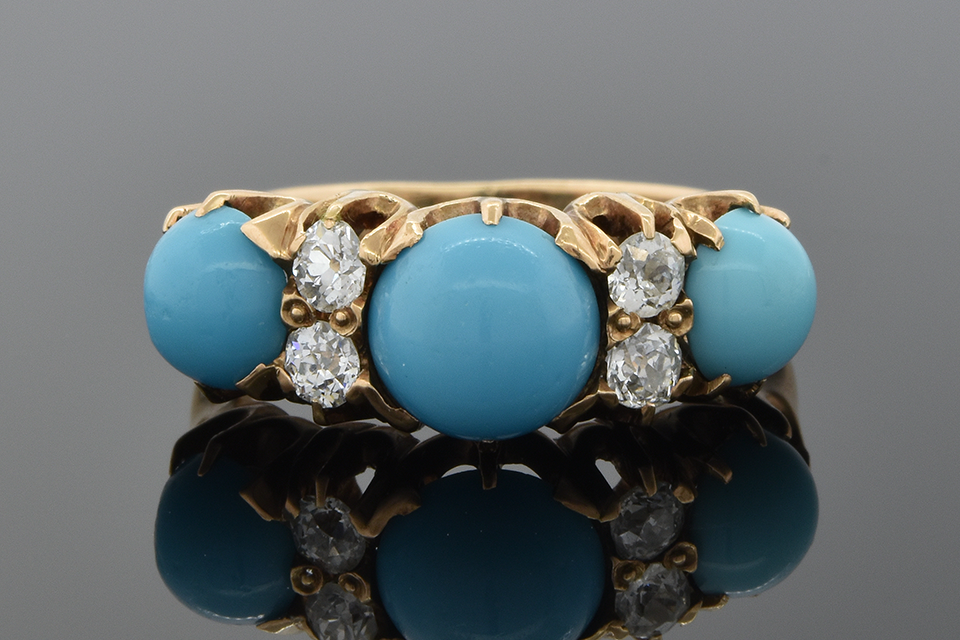 Item #1464 Persian Turquoise and Diamond Victorian Ring 1464