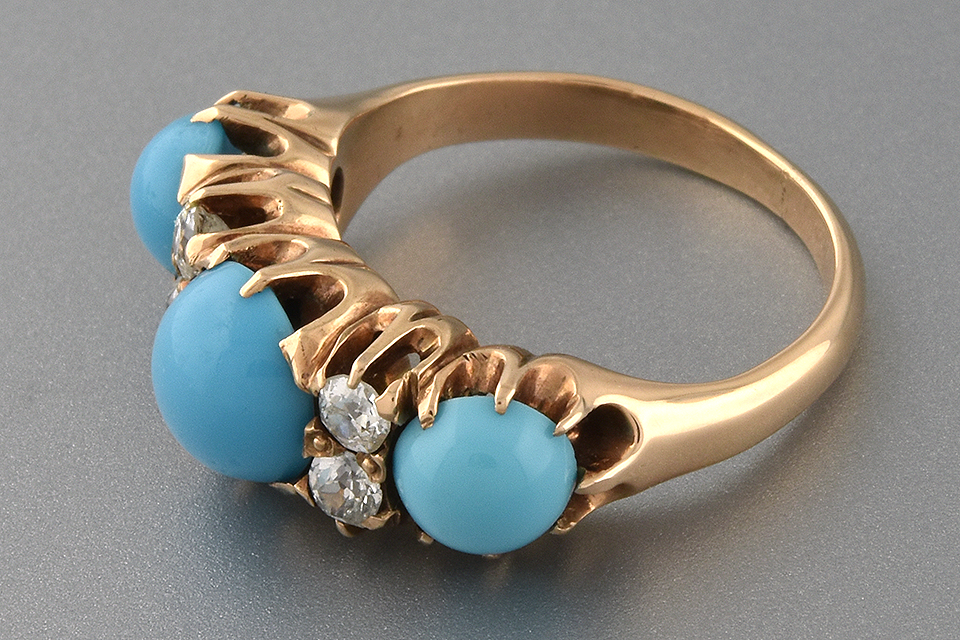 Item #1464 Persian Turquoise and Diamond Victorian Ring