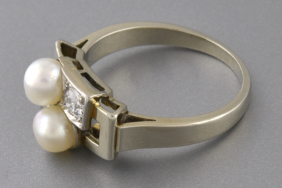 Item #2382 Art Deco Pearl and Diamond Geometric Bypass Ring