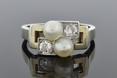 Art Deco Pearl and Diamond Geometric Bypass Ring