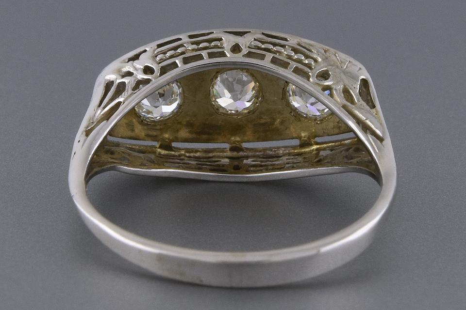 Item #2046 Art Deco Three Stone Diamond Ring with Filigree