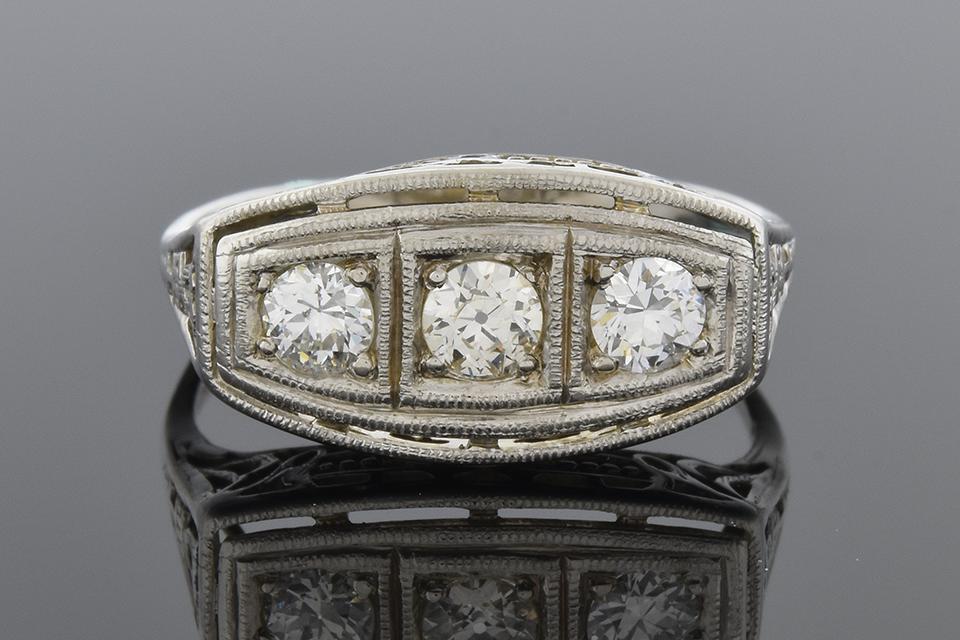 Item #2046 Art Deco Three Stone Diamond Ring with Filigree 2046