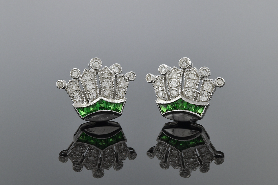 Item #2388 Tsavorite and Diamond Crown Earrings 2388