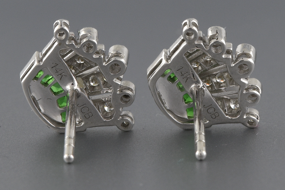 Item #2388 Tsavorite and Diamond Crown Earrings