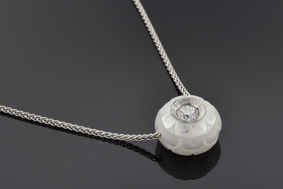 Item #2280 Carved pearl and diamond necklace by Galatea 2280