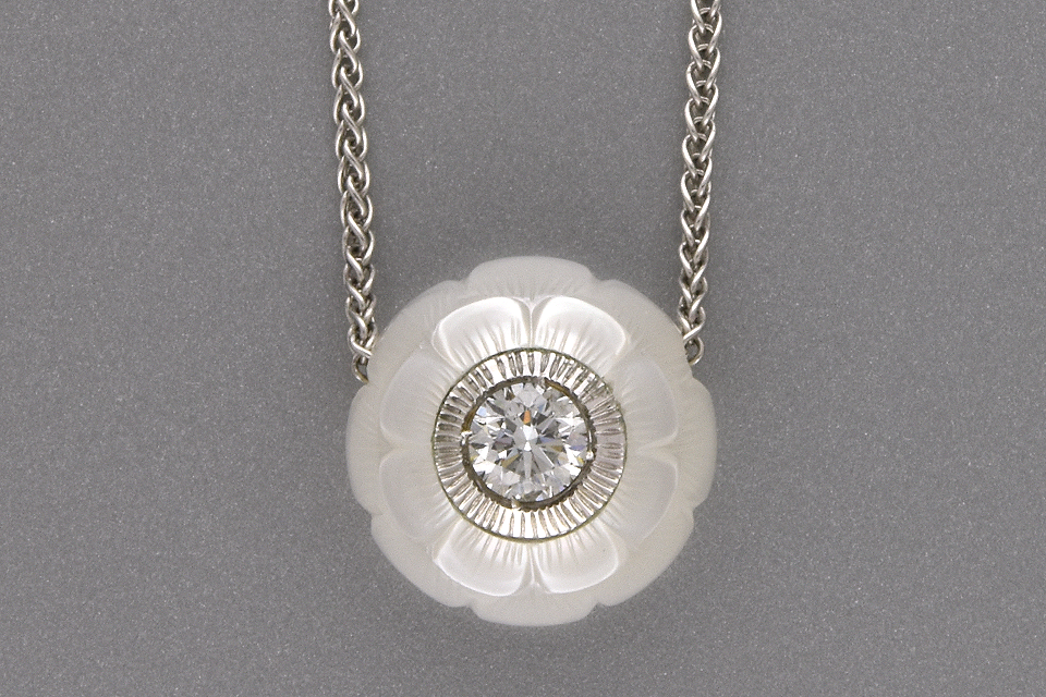 Item #2280 Carved pearl and diamond necklace by Galatea