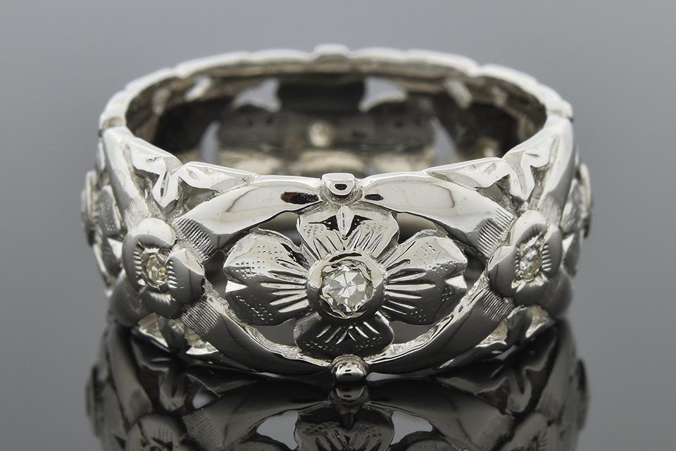 Item #1770 Ornate Floral Diamond Set Band 1770