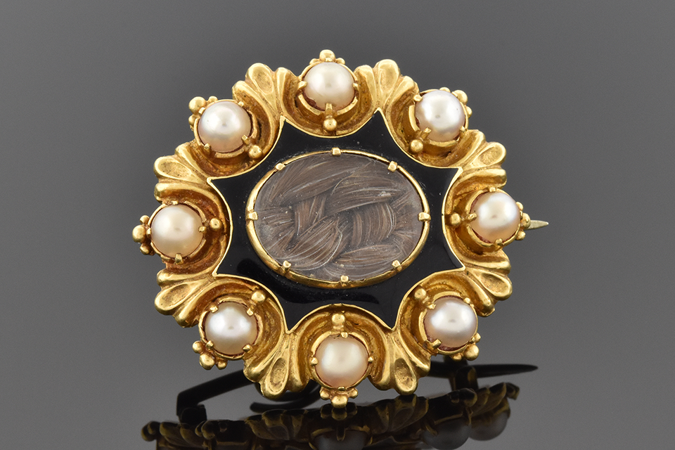 Item #6403 Victorian Pearl Memorial Brooch with Woven Hair
