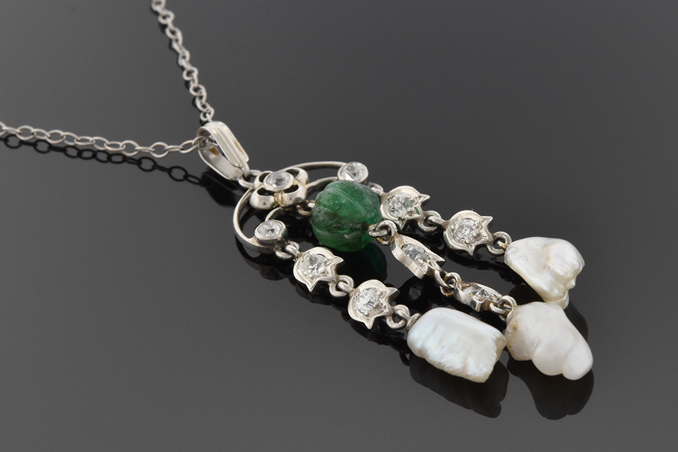 Item #6411 Vintage Diamond Pearl and Emerald Tassel Necklace