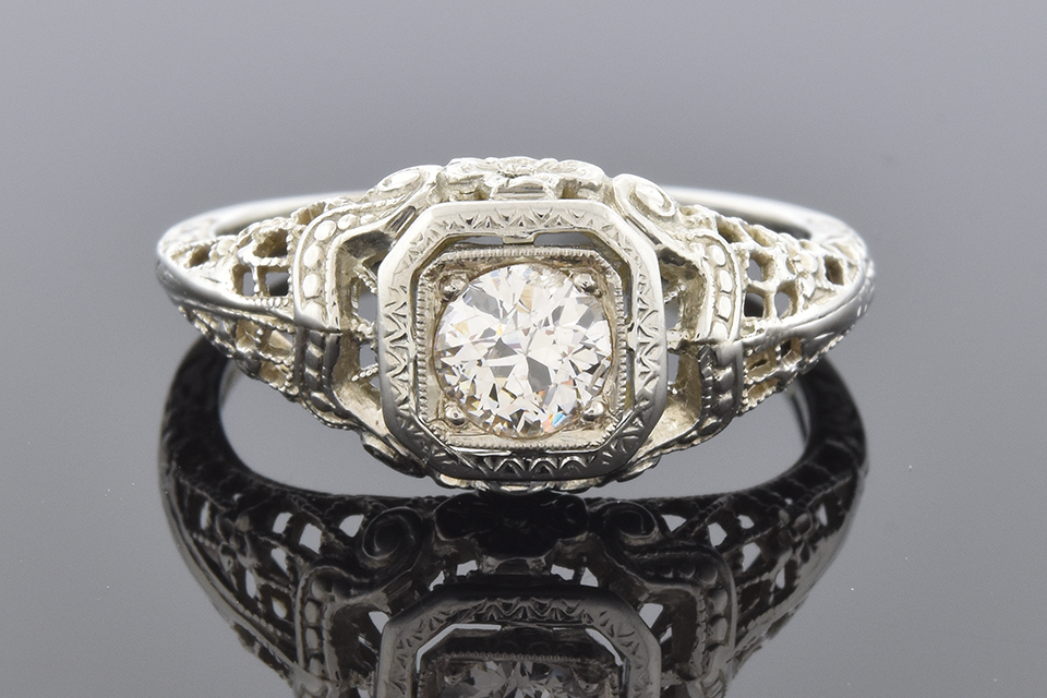 Item #2398 Vintage Filigree Diamond Engagement Ring 2398